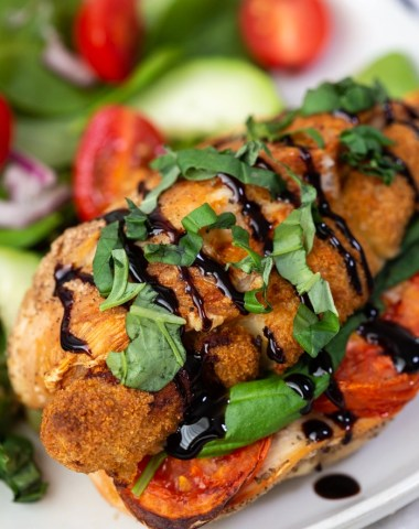 Caprese air fryer stuffed chicken.