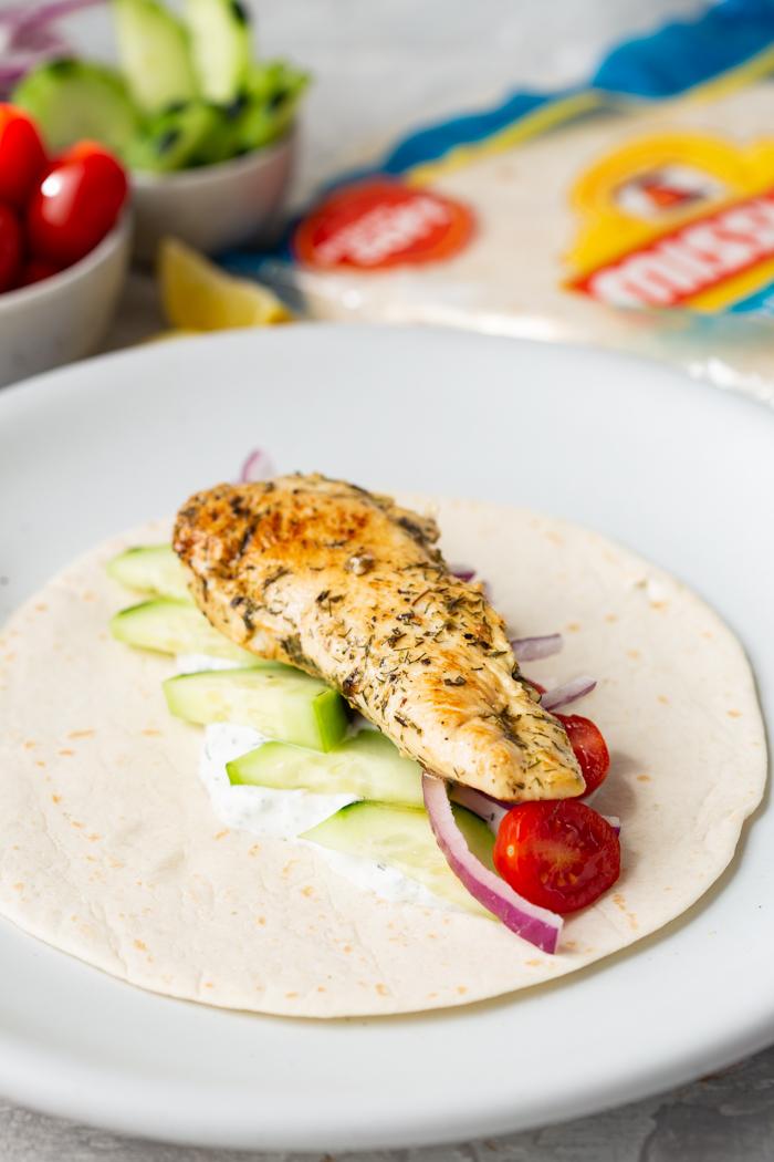 Greek Chicken Wraps with the chicken added