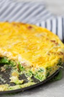 Crustless quiche, low carb breakfast with ham and cheese