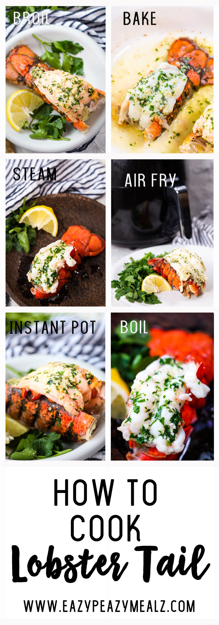 A complete breakdown of the different ways you can cook lobster tail at home, baking it, broiling it, air frying it, instant pot or pressure cooking it, steaming lobster and more.
