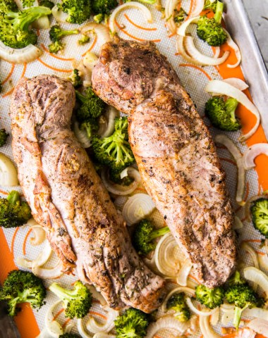 sheet pan pork tenderloin with roasted vegetables