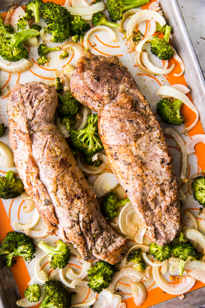 sheet pan pork tenderloin with roasted vegetables