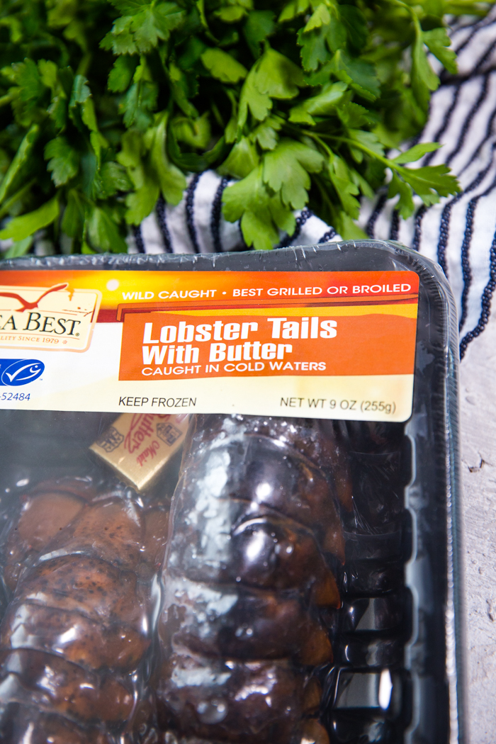 A package of lobster with a sticker that shows it is cold water lobster tails