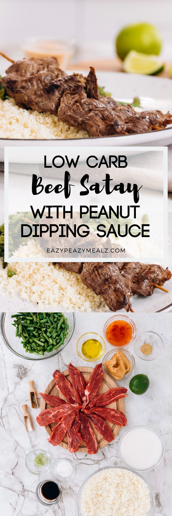 Low carb beef satay with peanut dipping sauce...the perfect keto meal.