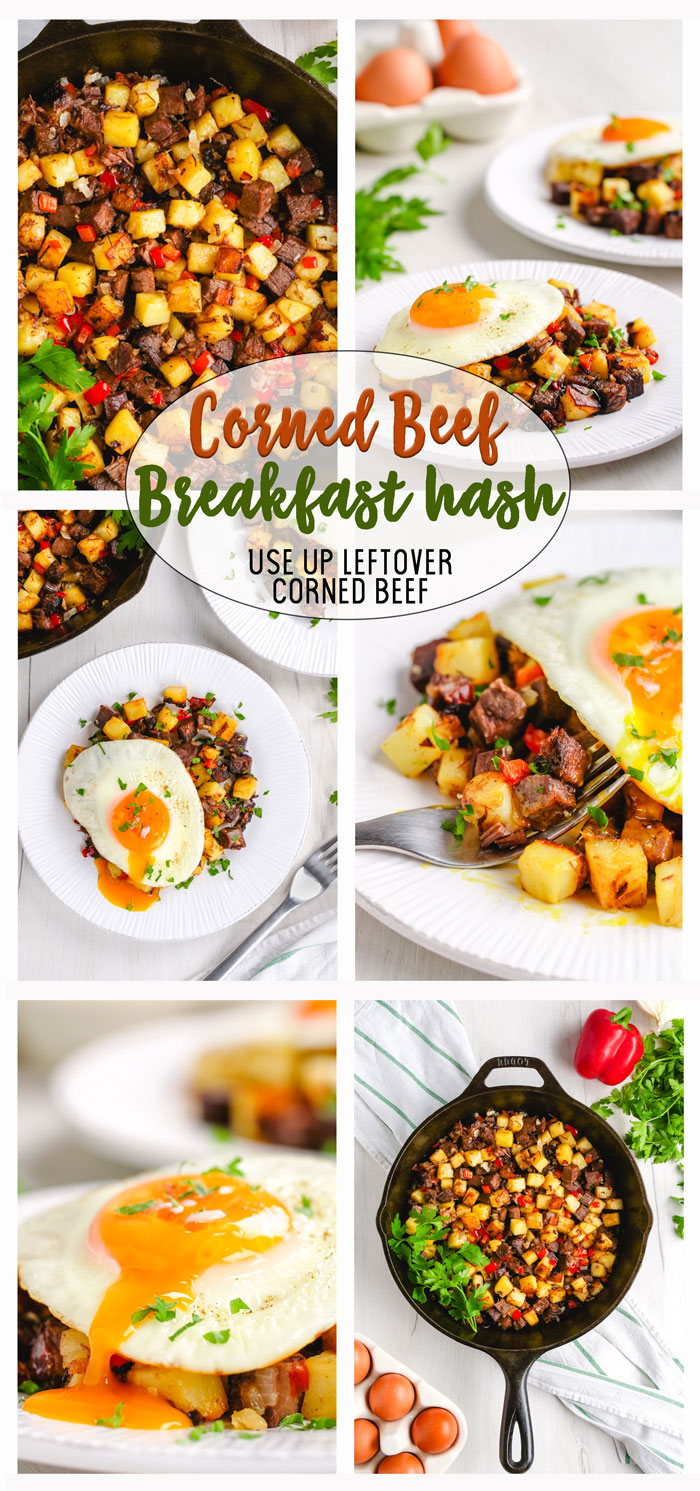 Corned Beef Hash- A composite photo with 6 different images of corned beef hash