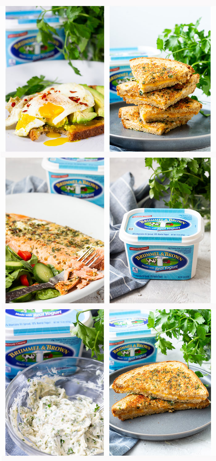 A collage of photos of garlic herb spread