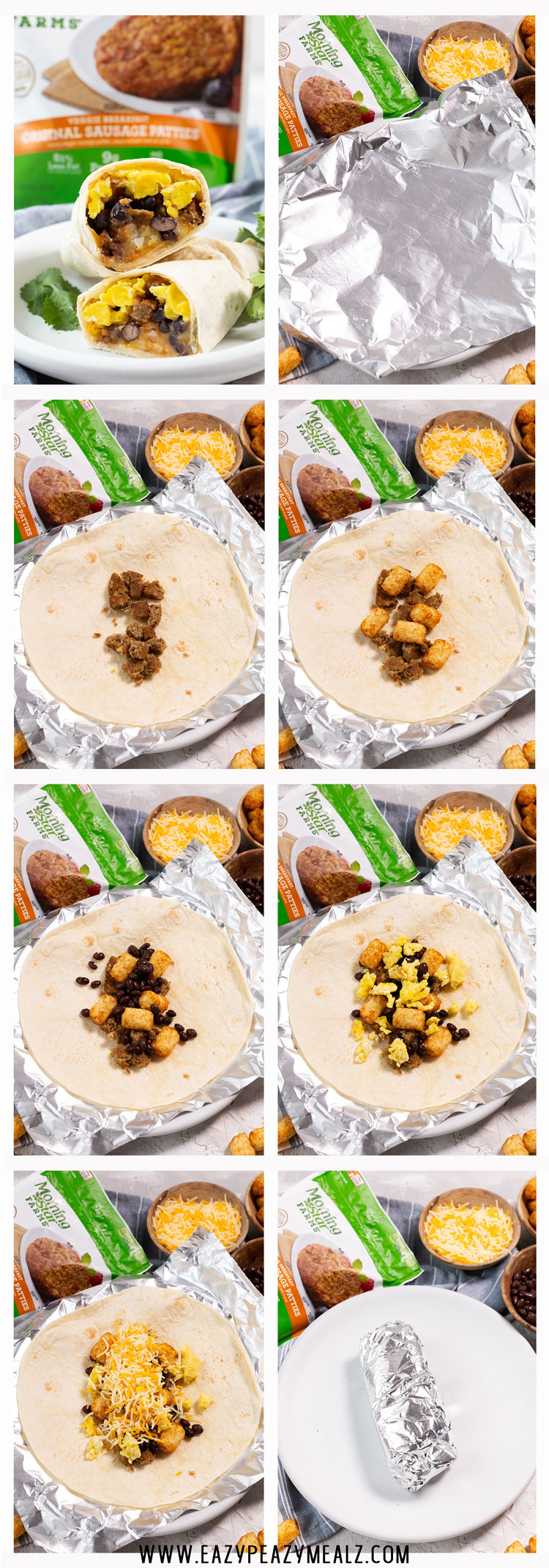 Classic breakfast burrito step by step