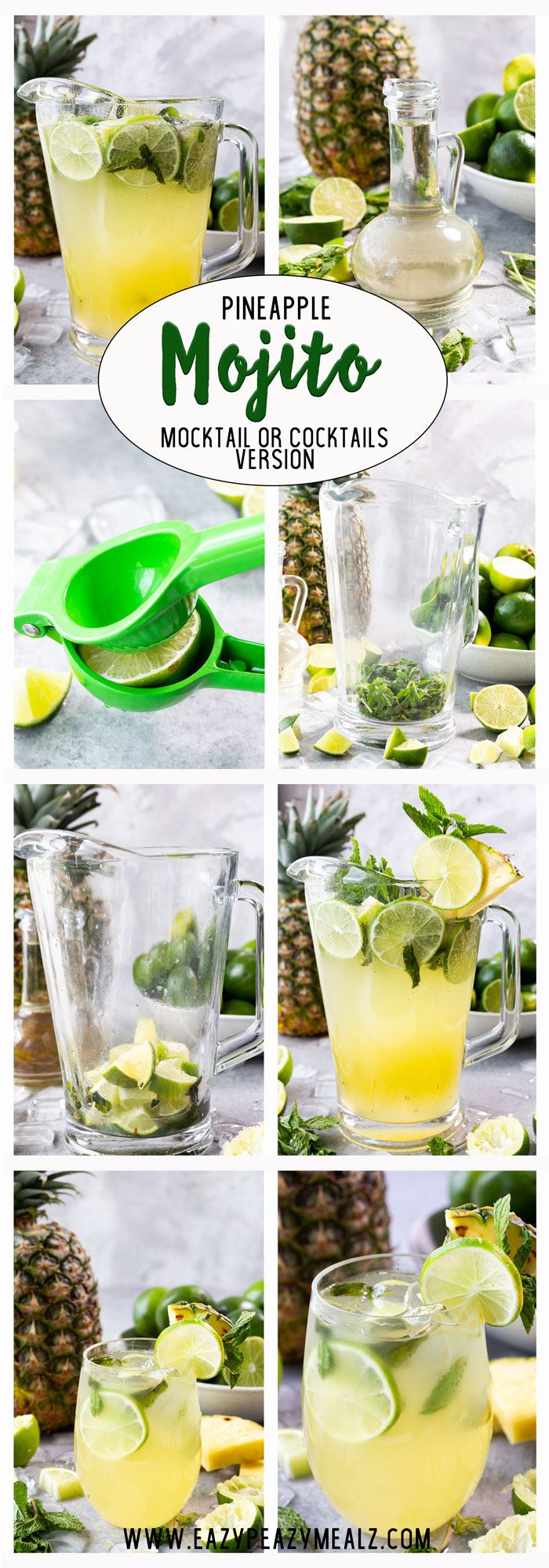Pineapple mojito, a fun twist on a classic mojito. Easy  to make and oh so delicious.