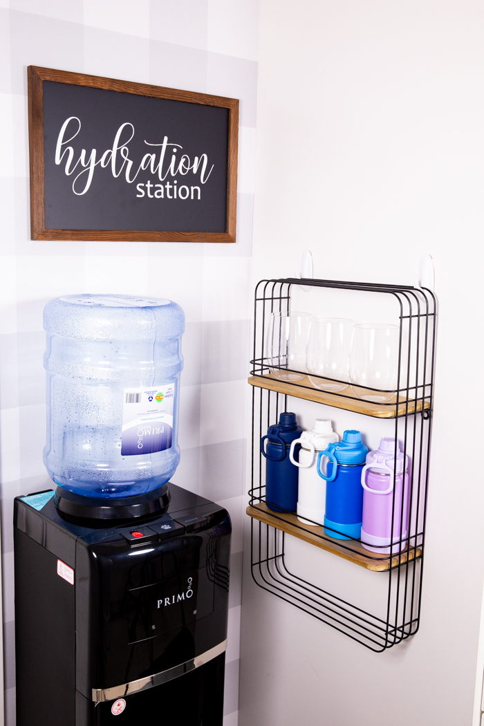 A close up of our hydration station