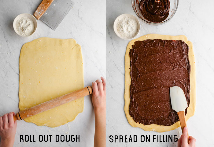 Two images, one with dough rolled out and a rolling pan and hands rolling it. The other spreading a chocolate filling over the rolled out dough.