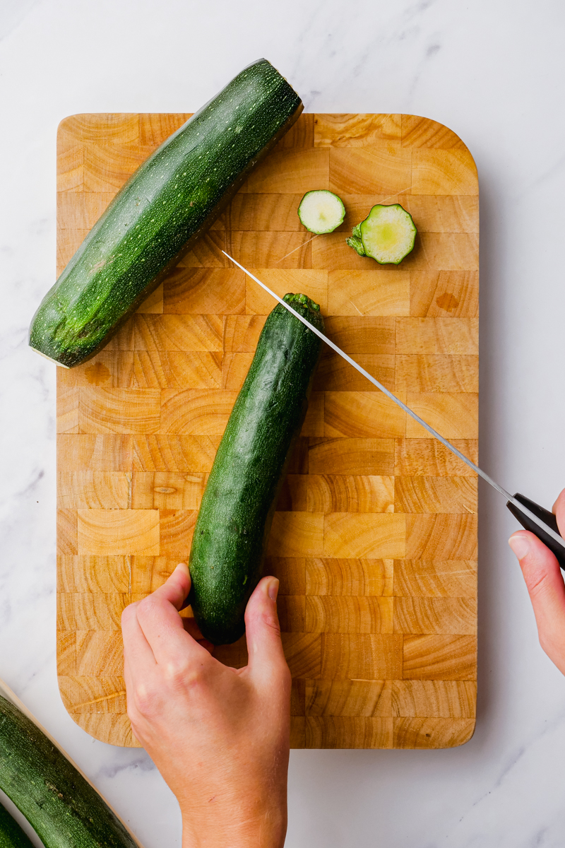 Prep zucchini for baking