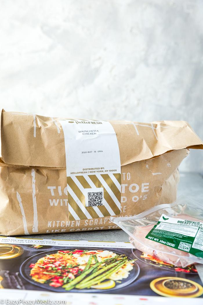HelloFresh brown bag and recipe