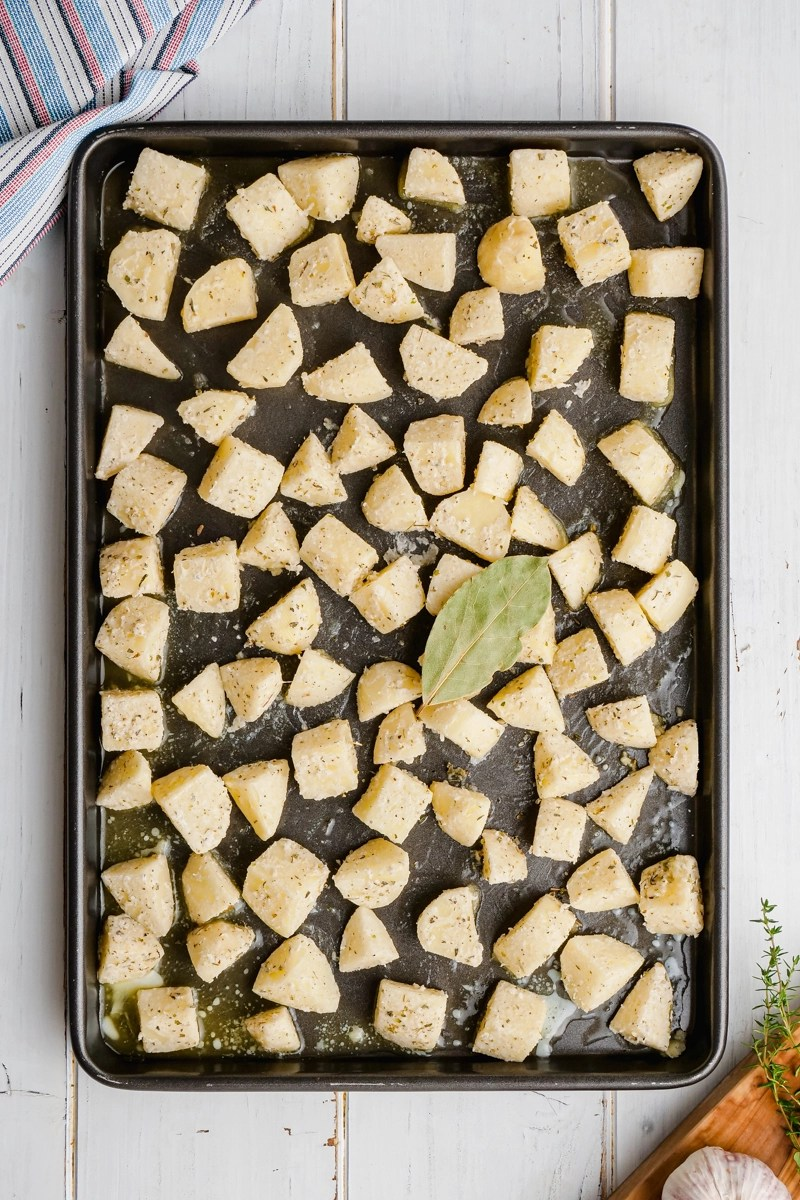 Potatoes on a prepared baking sheet