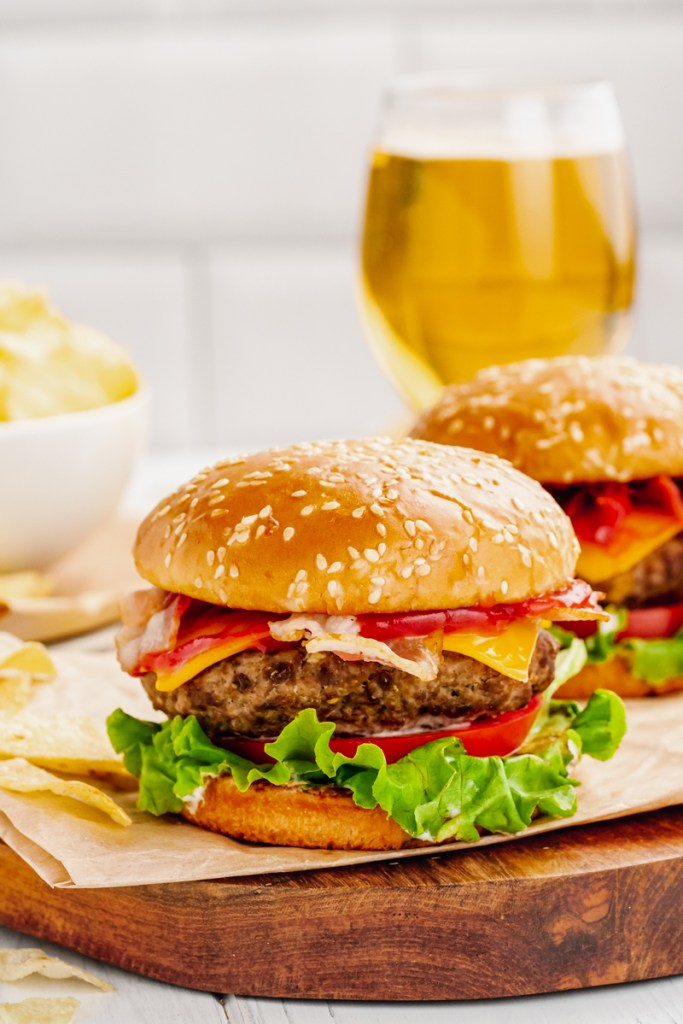 A hamburger cooked in the instant pot