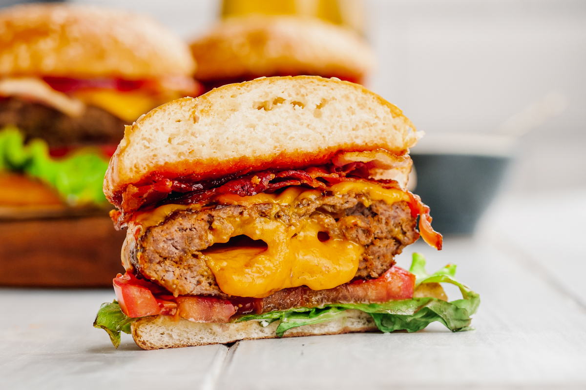 Assemble into a burger with all toppings