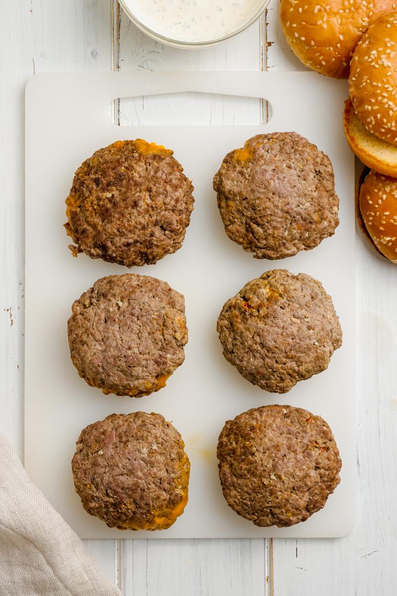 Cooked hamburger patties