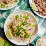 A delicious bowl of kalua pork with pineapple salsa