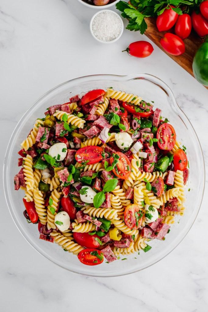 Making pasta salad
