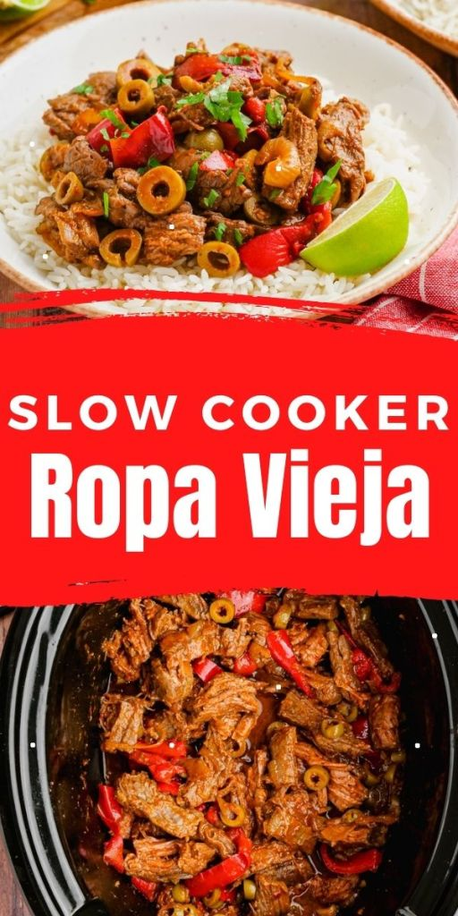 A pin image for ropa vieja, two photos text in between.