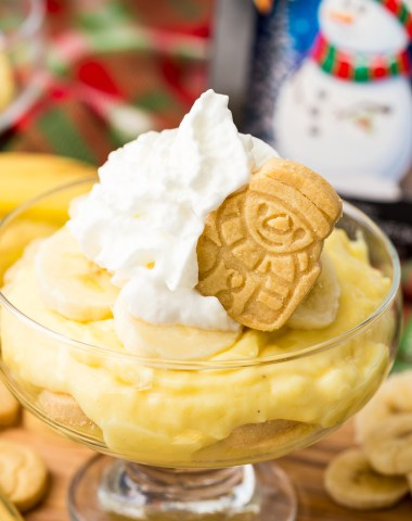 Holiday banana pudding with festive walkers shortbread cookies