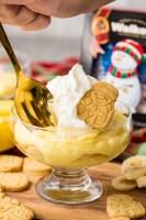 Eggnog banana pudding with Walker's shortbread santa cookie