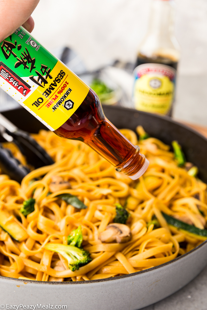 sesame oil on top of hibachi noodles