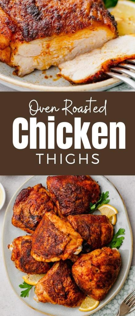 Roasted Chicken Thighs with a spice rub mixture that is sweet and savory, and oh so delicious.