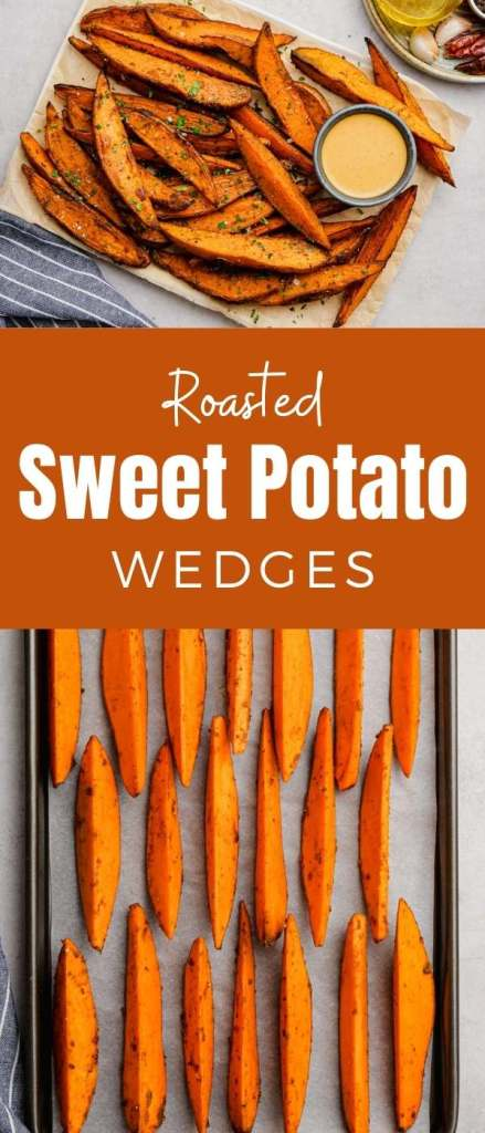 Roasted sweet potato wedges, cooked in the oven, lightly seasoned, and totally delicious.