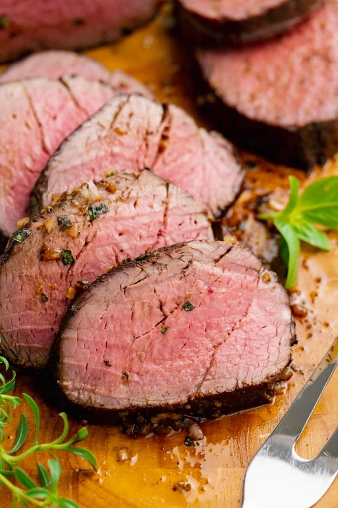 Herb butter rubbed roast beef tenderloin