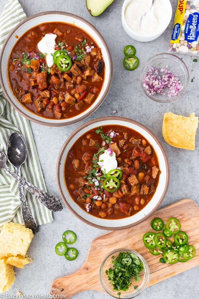 Two bowls of Brisket chili