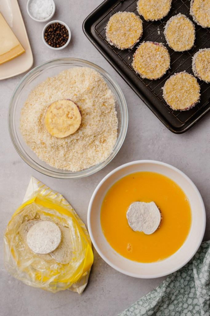 eggplant parmesan ingredients on cooking sheet