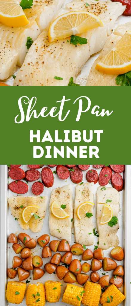 Halibut cooked to perfection on a sheet pan with vegetables
