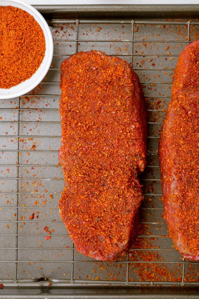 Season and cook sirloin steaks