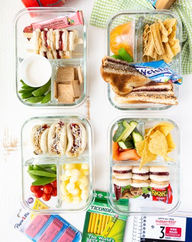 4 lunchbox ideas using peanut butter and jelly sandwiches