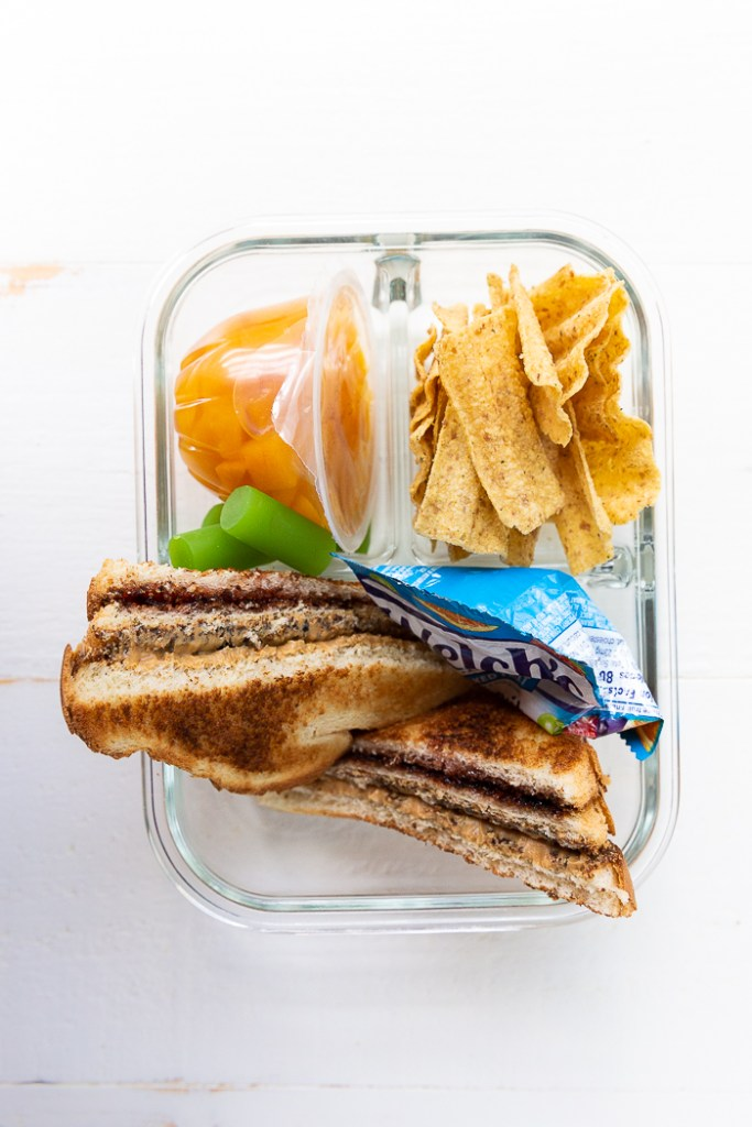 Toasted peanut butter and jelly sandwich lunchbox idea