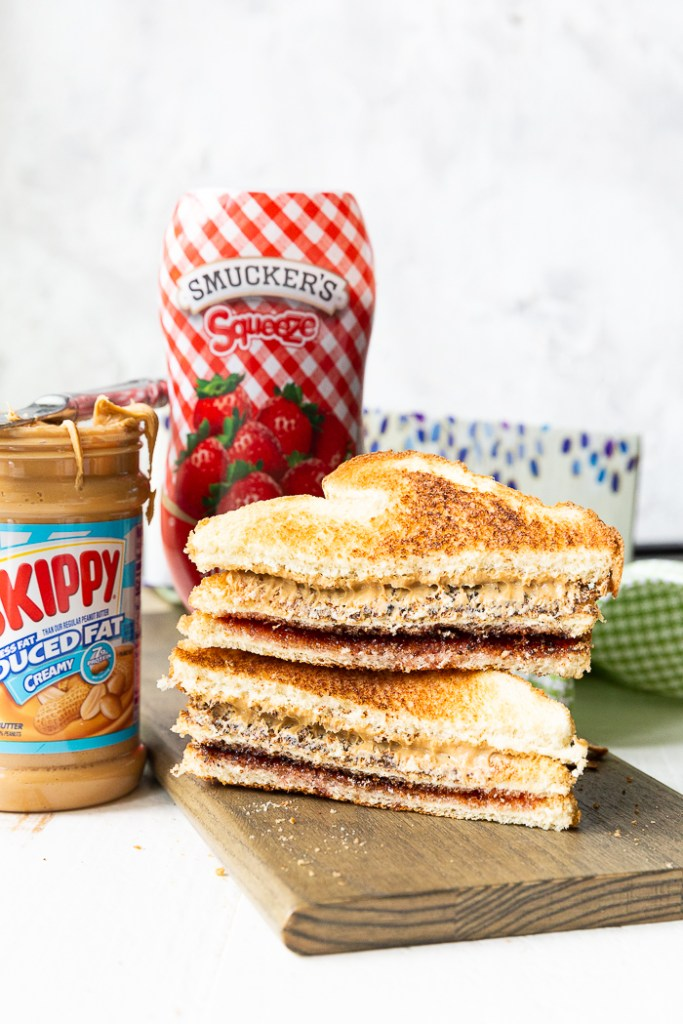 Toasted peanut butter and jelly sandwich