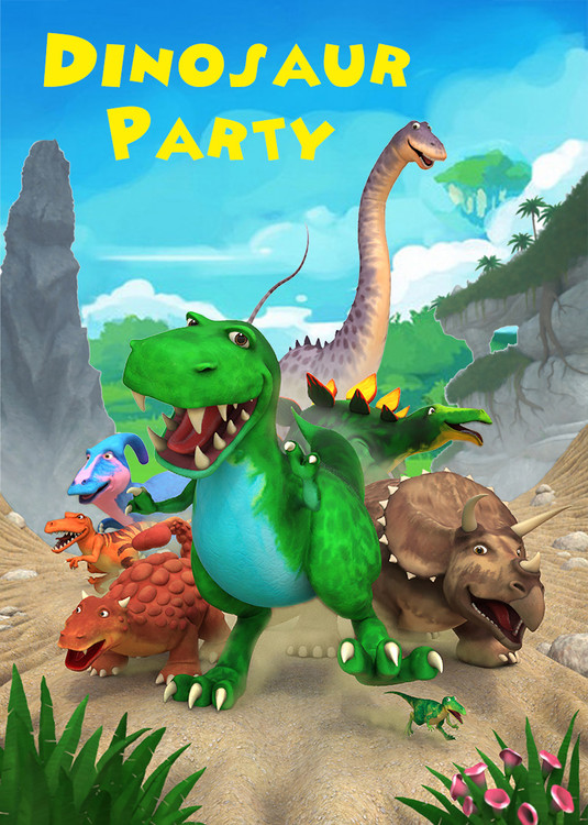 cartoon dinosaur party backdrop