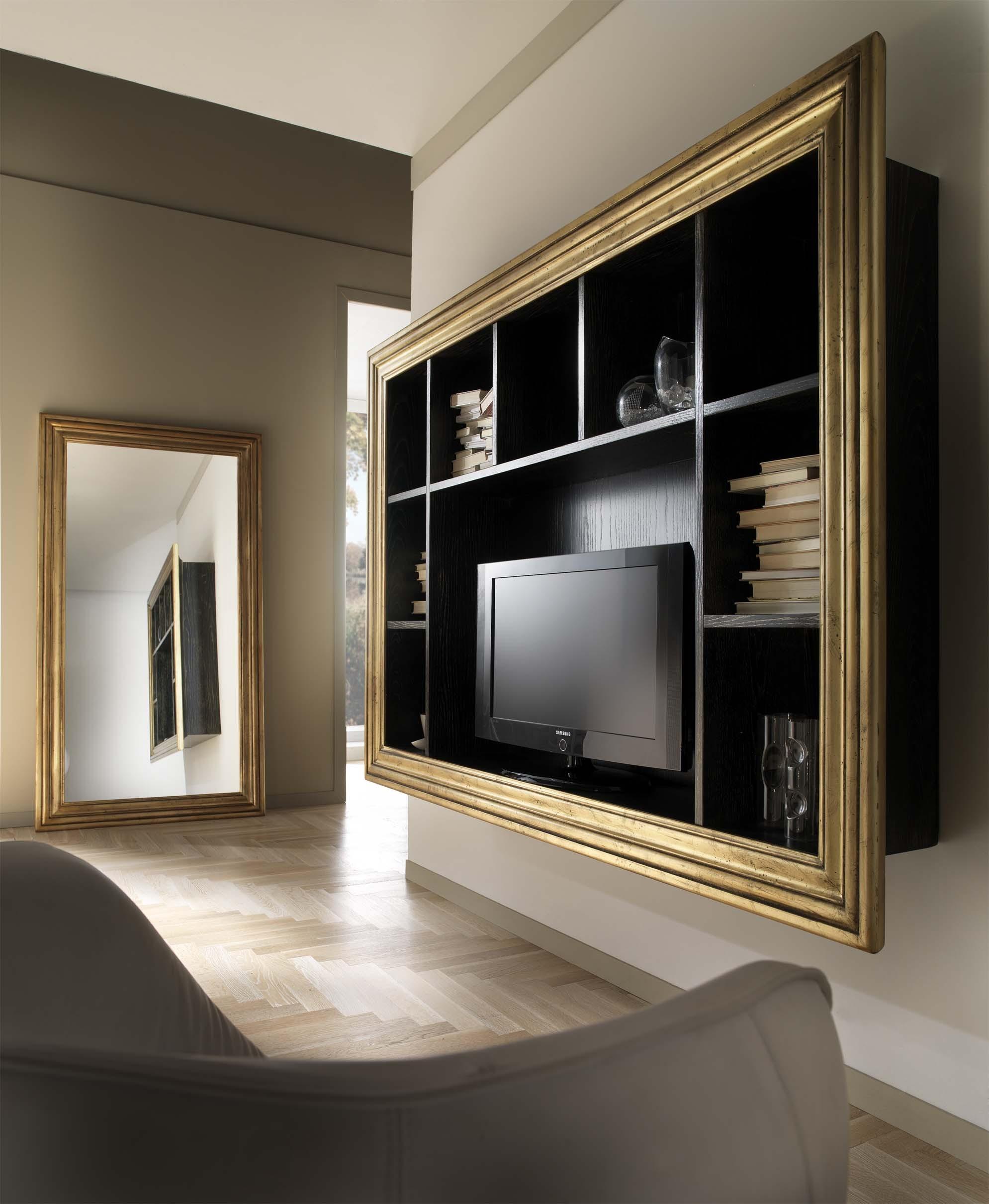 Libreria porta tv sospesa in frassino