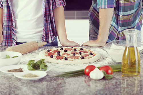 Ready pizza before baking