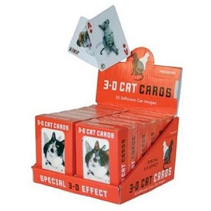 3-D Cats Playing Cards