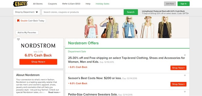 Save with Nordstrom Offers at Ebates