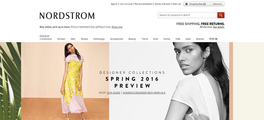 Nordstrom Homepage