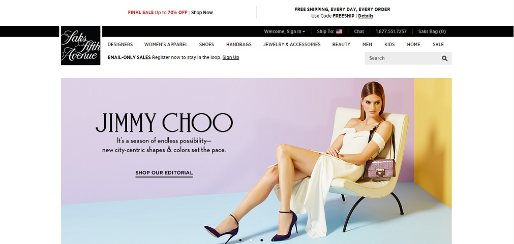 Saks Fifth Avenue Homepage