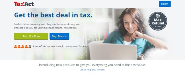 TaxAct Tax Services Homepage