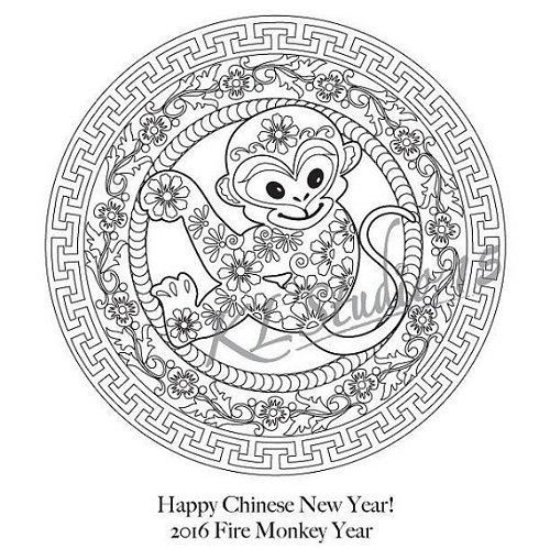 Colouring Pages For Year Of The Monkey 9 Chinese New Party Essentials Ebates
