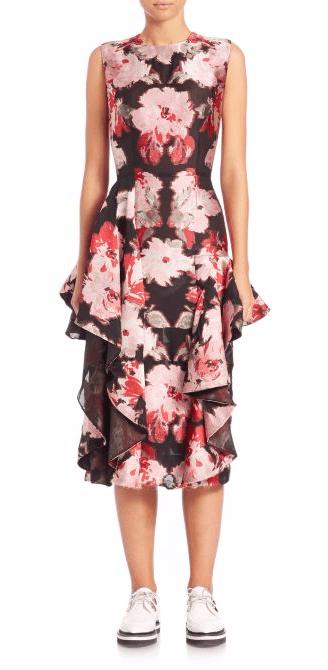 Alexander McQueen Floral Ruffle Dress