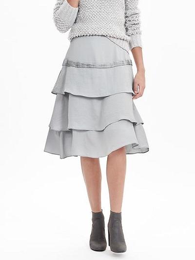 Asymmetrical Ruffle Midi Skirt