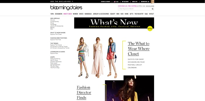 Bloomingdales.com homepage