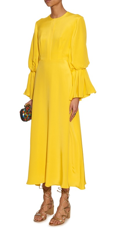 Roksanda Ophelia Bell-Sleeved Satin Dress