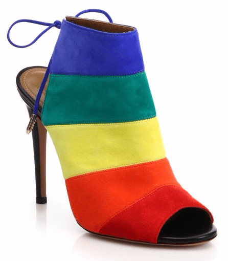 Rainbow Suede Peep-Toe Booties